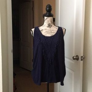 Navy Blue Unique Design Blouse 👚